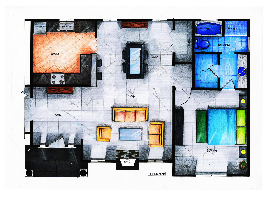 1000 images about hand drawings design on pinterest for Rendered floor plan